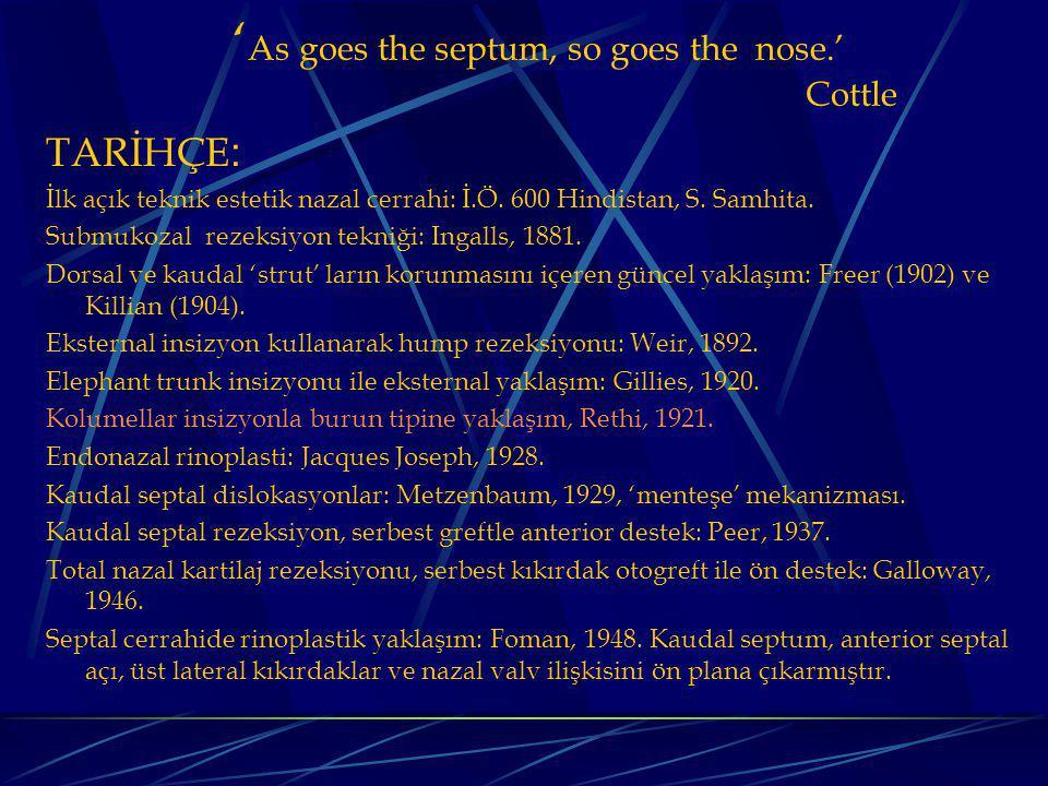 ' As goes the septum, so goes the nose.' Cottle TARİHÇE : İlk açık teknik estetik nazal cerrahi: İ.Ö.