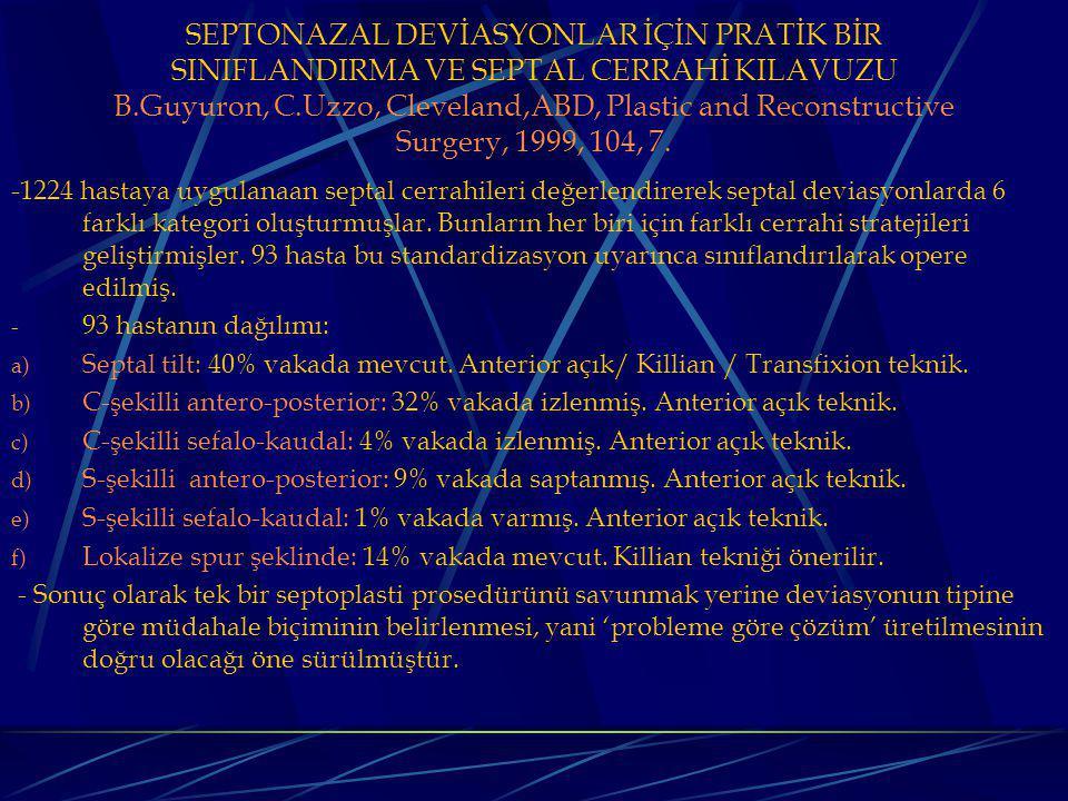 SEPTONAZAL DEVİASYONLAR İÇİN PRATİK BİR SINIFLANDIRMA VE SEPTAL CERRAHİ KILAVUZU B.Guyuron, C.Uzzo, Cleveland,ABD, Plastic and Reconstructive Surgery, 1999, 104, 7.