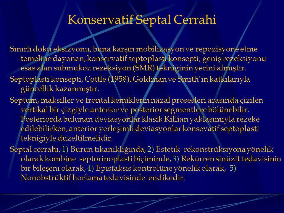 Konservatif Septal Cerrahi Sınırlı doku eksizyonu, buna karşın mobilizasyon ve repozisyone etme temeline dayanan, konservatif septoplasti konsepti; geniş rezeksiyonu esas alan submuköz rezeksiyon (SMR) tekniğinin yerini almıştır.