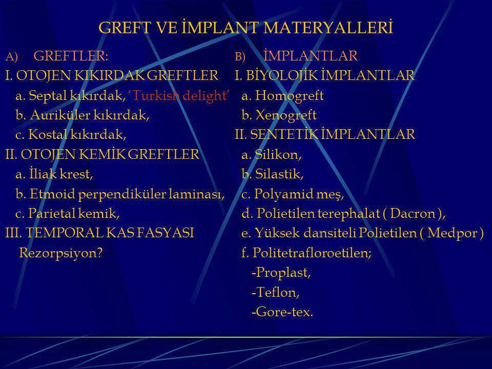 GREFT VE İMPLANT MATERYALLERİ A) GREFTLER: I.OTOJEN KIKIRDAK GREFTLER a.