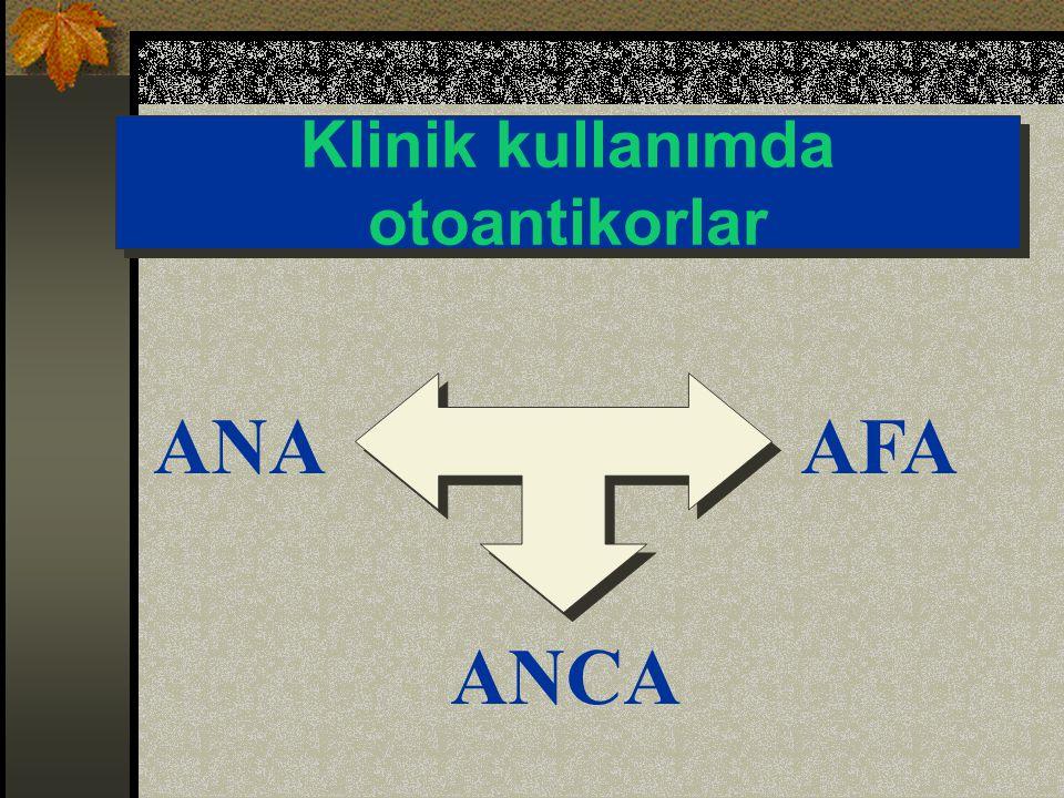 Klinik kullanımda otoantikorlar ANA ANCA AFA