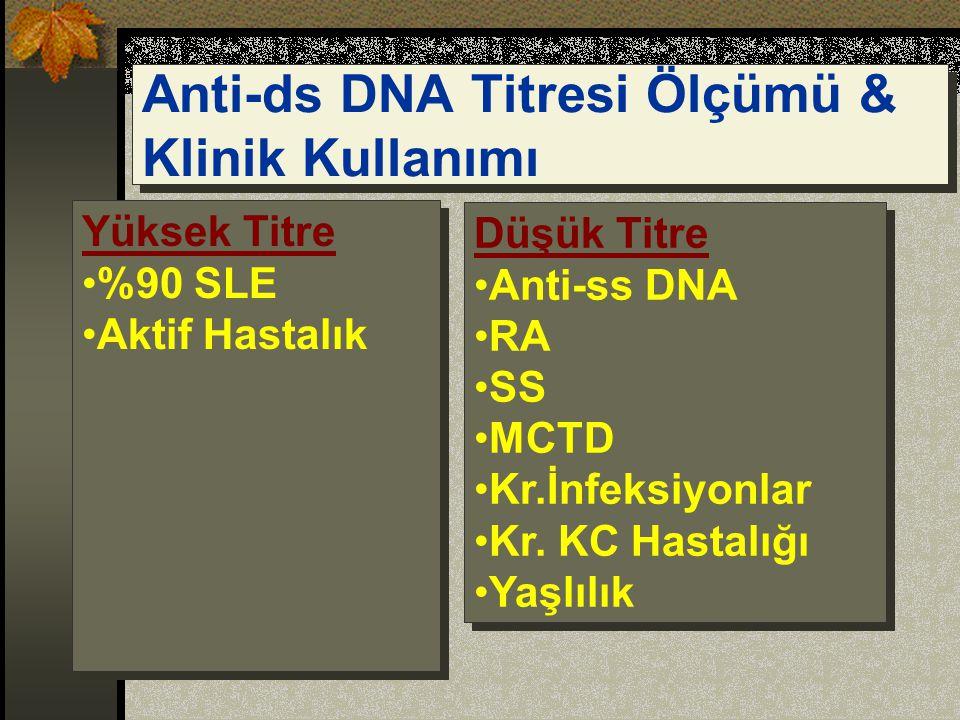 Anti-ds DNA Titresi Ölçümü & Klinik Kullanımı Düşük Titre Anti-ss DNA RA SS MCTD Kr.İnfeksiyonlar Kr.