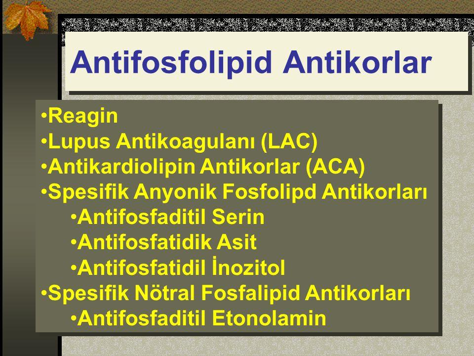 Reagin Lupus Antikoagulanı (LAC) Antikardiolipin Antikorlar (ACA) Spesifik Anyonik Fosfolipd Antikorları Antifosfaditil Serin Antifosfatidik Asit Antifosfatidil İnozitol Spesifik Nötral Fosfalipid Antikorları Antifosfaditil Etonolamin Reagin Lupus Antikoagulanı (LAC) Antikardiolipin Antikorlar (ACA) Spesifik Anyonik Fosfolipd Antikorları Antifosfaditil Serin Antifosfatidik Asit Antifosfatidil İnozitol Spesifik Nötral Fosfalipid Antikorları Antifosfaditil Etonolamin Antifosfolipid Antikorlar