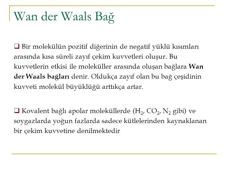 Wan der Waals Bağ  Bir molekülün pozitif diğerinin de negatif yüklü kısımları arasında kısa süreli zayıf çekim kuvvetleri oluşur. Bu kuvvetlerin etki