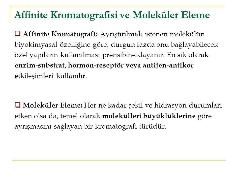 Affinite Kromatografisi ve Moleküler Eleme  Affinite Kromatografi: Ayrıştırılmak istenen molekülün biyokimyasal özelliğine göre, durgun fazda onu bağ