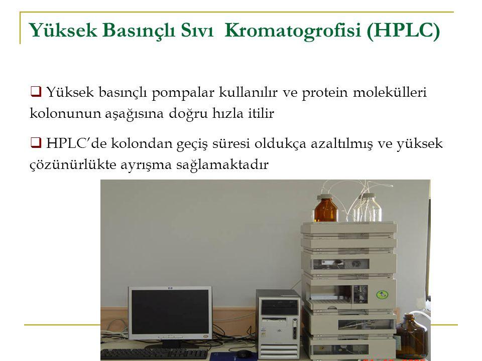 Yüksek Basınçlı Sıvı Kromatogrofisi (HPLC)  Yüksek basınçlı pompalar kullanılır ve protein molekülleri kolonunun aşağısına doğru hızla itilir  HPLC'