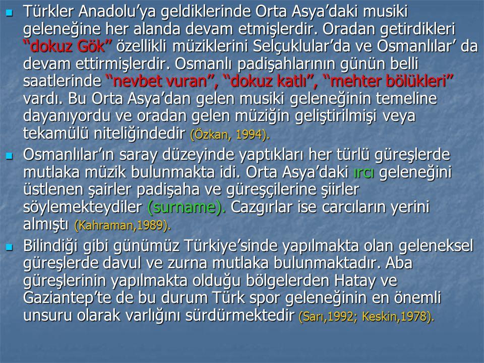 Türkler Anadolu'ya geldiklerinde Orta Asya'daki musiki geleneğine her alanda devam etmişlerdir.