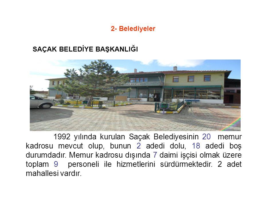 1992 yılında kurulan Saçak Belediyesinin 20 memur kadrosu mevcut olup, bunun 2 adedi dolu, 18 adedi boş durumdadır.