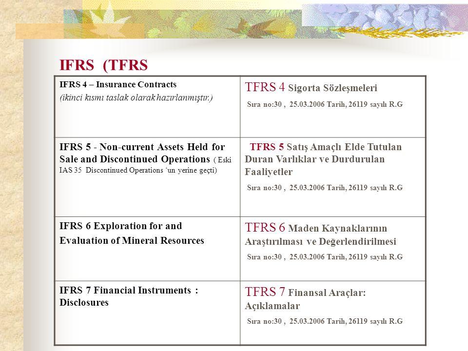 IFRS (TFRS IFRS 4 – Insurance Contracts (ikinci kısmı taslak olarak hazırlanmıştır.) TFRS 4 Sigorta Sözleşmeleri Sıra no:30, 25.03.2006 Tarih, 26119 s