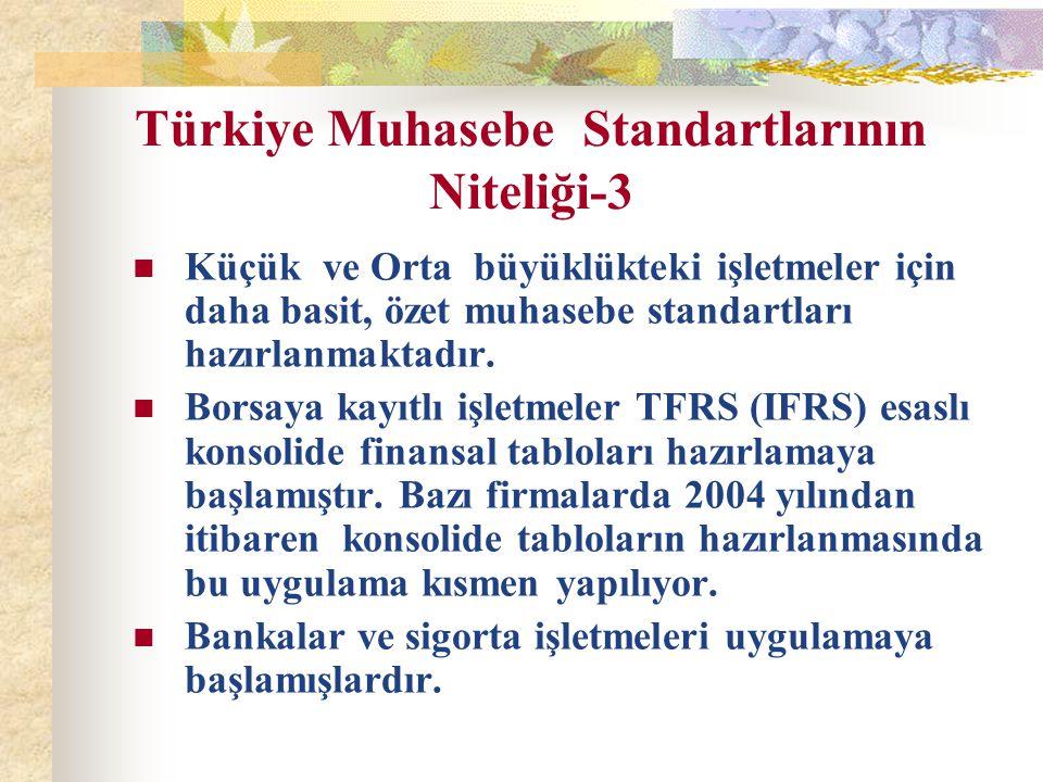 Türkiye Muhasebe Standartlarının Niteliği-3 Küçük ve Orta büyüklükteki işletmeler için daha basit, özet muhasebe standartları hazırlanmaktadır. Borsay
