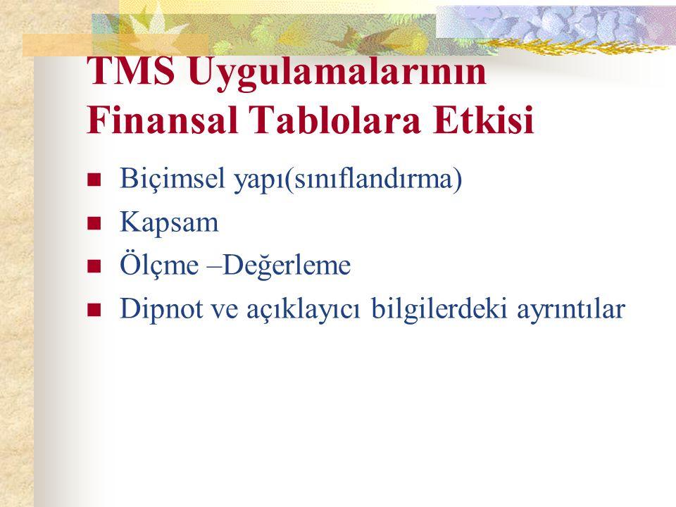TMS Uygulamalarının Finansal Tablolara Etkisi Biçimsel yapı(sınıflandırma) Kapsam Ölçme –Değerleme Dipnot ve açıklayıcı bilgilerdeki ayrıntılar