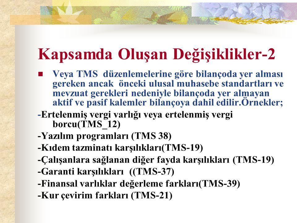 Kapsamda Oluşan Değişiklikler-2 Veya TMS düzenlemelerine göre bilançoda yer alması gereken ancak önceki ulusal muhasebe standartları ve mevzuat gerekl