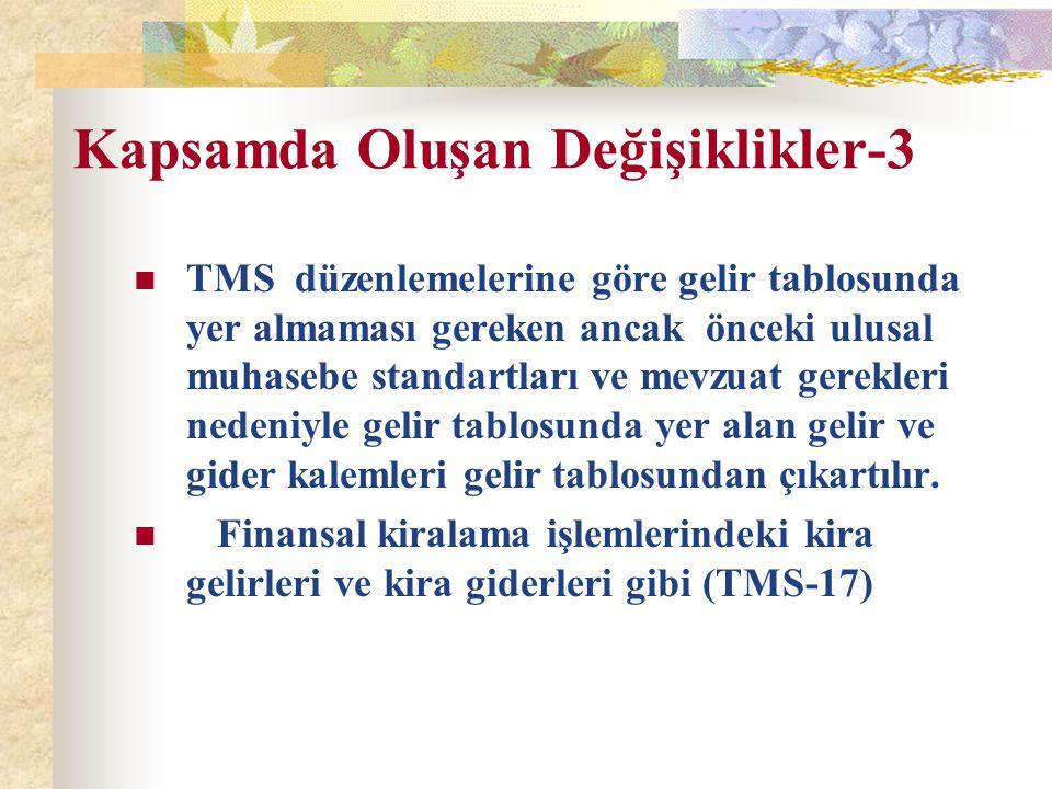 Kapsamda Oluşan Değişiklikler-3 TMS düzenlemelerine göre gelir tablosunda yer almaması gereken ancak önceki ulusal muhasebe standartları ve mevzuat ge