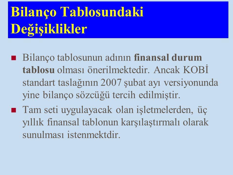Bilanço Tablosundaki Değişiklikler Bilanço tablosunun adının finansal durum tablosu olması önerilmektedir. Ancak KOBİ standart taslağının 2007 şubat a