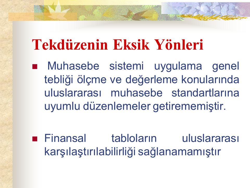 TMS/TFRS'LERİN ROLÜ TMSK'nın kurulmasıyla uluslararası muhasebe standartları ile uyumlu TMS/TFRS'ler yayımlanmış ve bu boşluk doldurulmuştur.