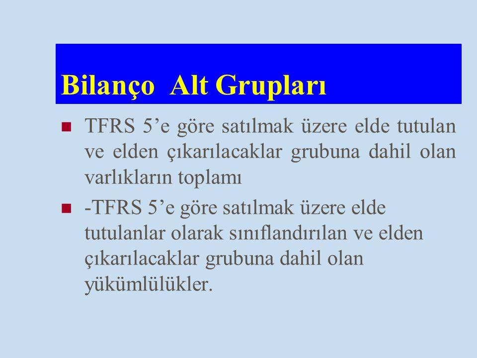 Bilanço Alt Grupları TFRS 5'e göre satılmak üzere elde tutulan ve elden çıkarılacaklar grubuna dahil olan varlıkların toplamı -TFRS 5'e göre satılmak