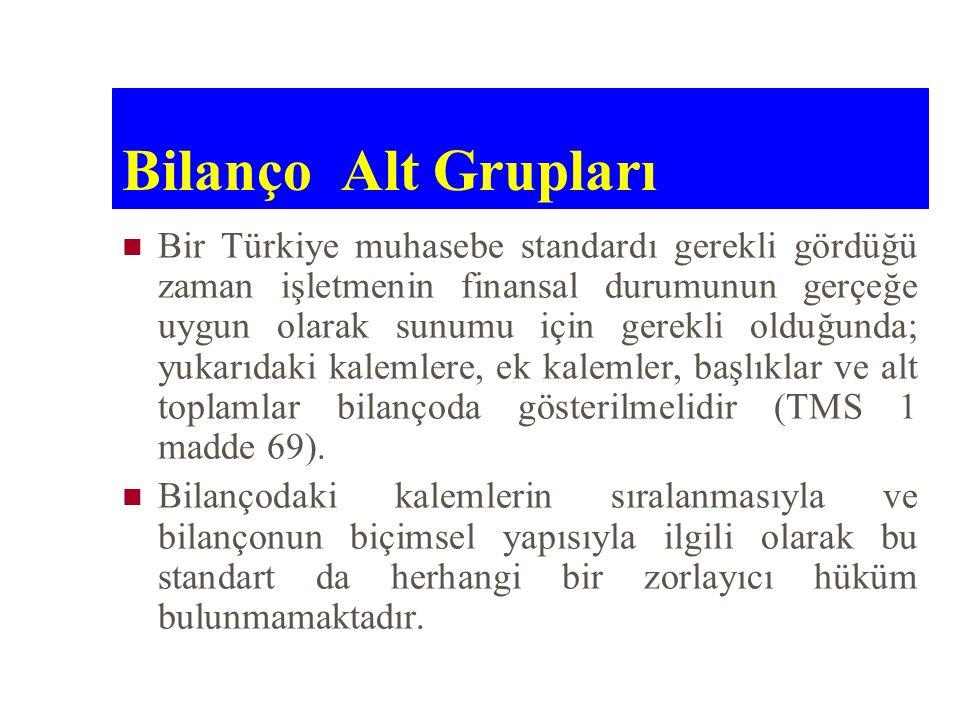 Bilanço Alt Grupları Bir Türkiye muhasebe standardı gerekli gördüğü zaman işletmenin finansal durumunun gerçeğe uygun olarak sunumu için gerekli olduğ