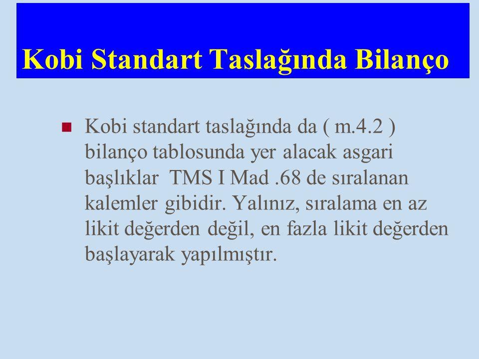 Kobi Standart Taslağında Bilanço Kobi standart taslağında da ( m.4.2 ) bilanço tablosunda yer alacak asgari başlıklar TMS I Mad.68 de sıralanan kaleml