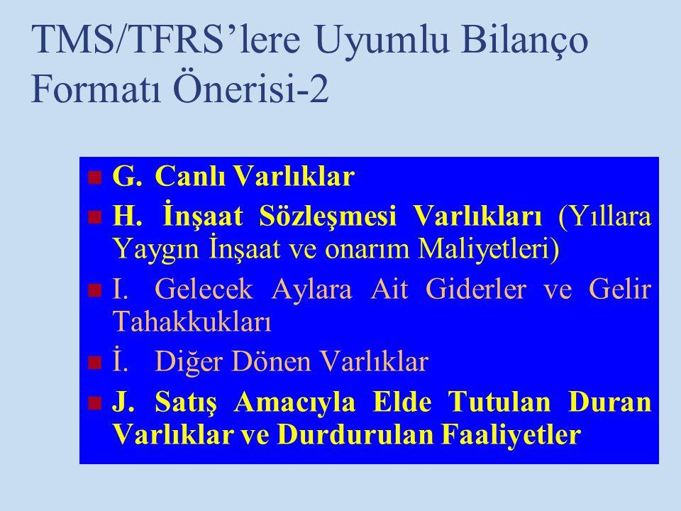 TMS/TFRS'lere Uyumlu Bilanço Formatı Önerisi-2 G.Canlı Varlıklar H. İnşaat Sözleşmesi Varlıkları (Yıllara Yaygın İnşaat ve onarım Maliyetleri) I.Gelec