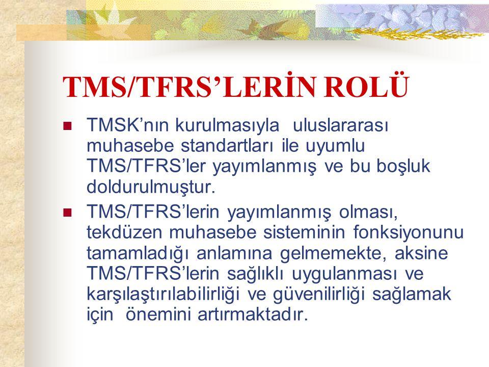 TMS/TFRS'LERİN ROLÜ TMSK'nın kurulmasıyla uluslararası muhasebe standartları ile uyumlu TMS/TFRS'ler yayımlanmış ve bu boşluk doldurulmuştur. TMS/TFRS