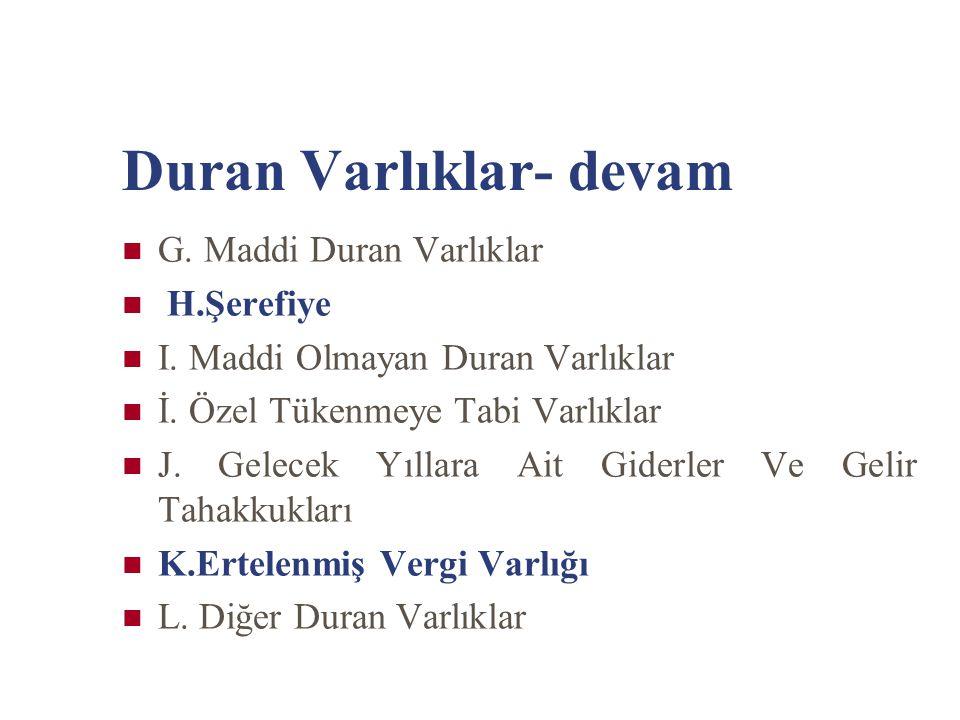 Duran Varlıklar- devam G. Maddi Duran Varlıklar H.Şerefiye I. Maddi Olmayan Duran Varlıklar İ. Özel Tükenmeye Tabi Varlıklar J. Gelecek Yıllara Ait Gi