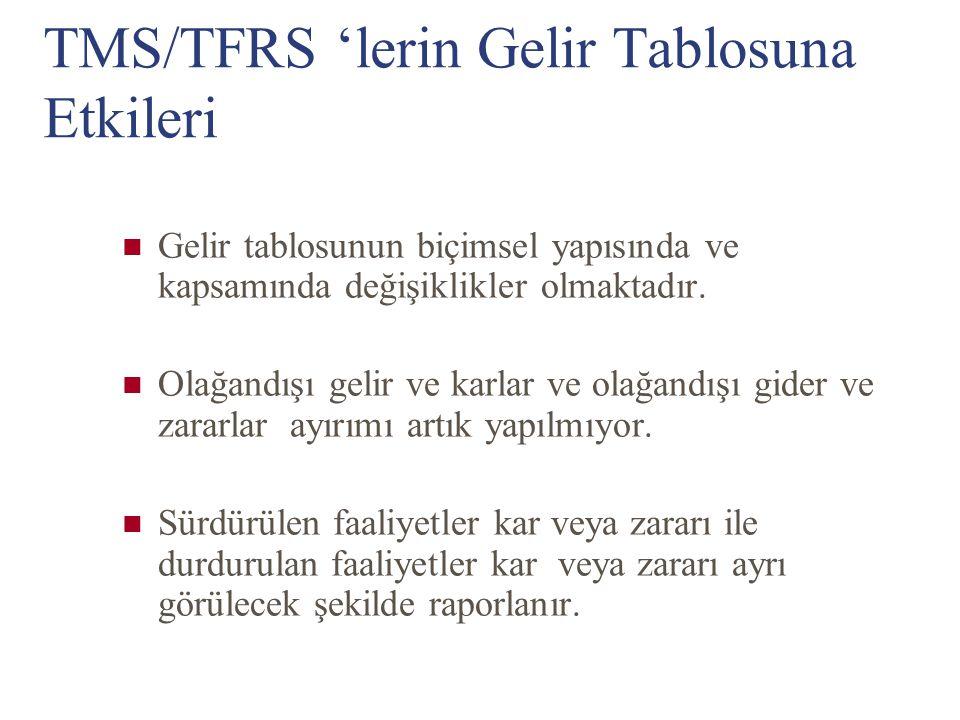 TMS/TFRS 'lerin Gelir Tablosuna Etkileri Gelir tablosunun biçimsel yapısında ve kapsamında değişiklikler olmaktadır. Olağandışı gelir ve karlar ve ola