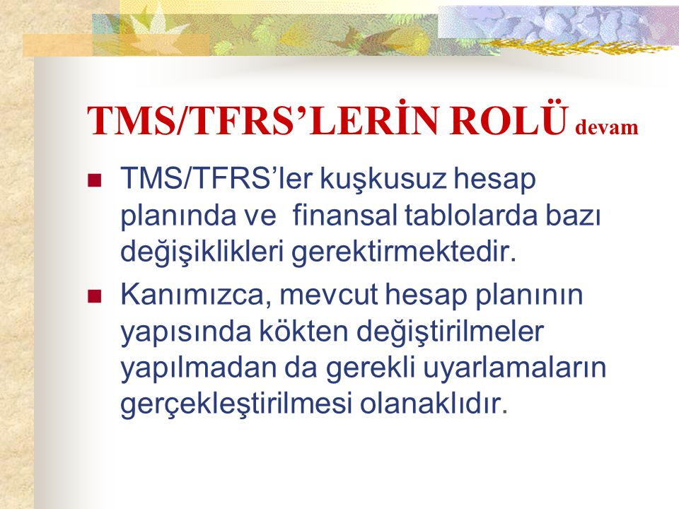 TMS/TFRS'LERİN ROLÜ devam TMS/TFRS'ler kuşkusuz hesap planında ve finansal tablolarda bazı değişiklikleri gerektirmektedir. Kanımızca, mevcut hesap pl