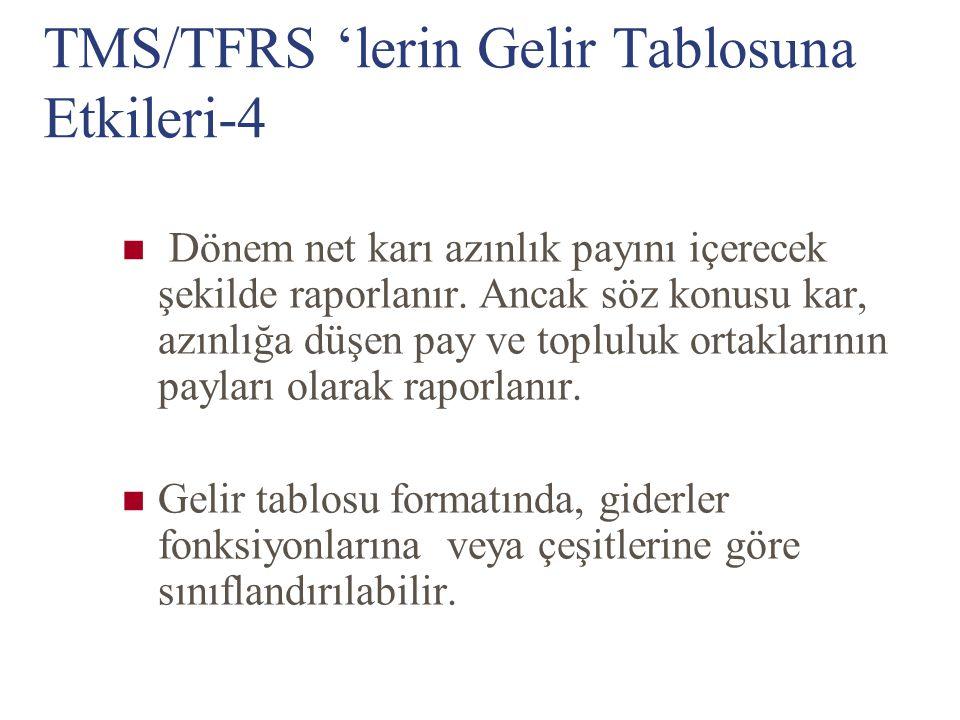 TMS/TFRS 'lerin Gelir Tablosuna Etkileri-4 Dönem net karı azınlık payını içerecek şekilde raporlanır. Ancak söz konusu kar, azınlığa düşen pay ve topl