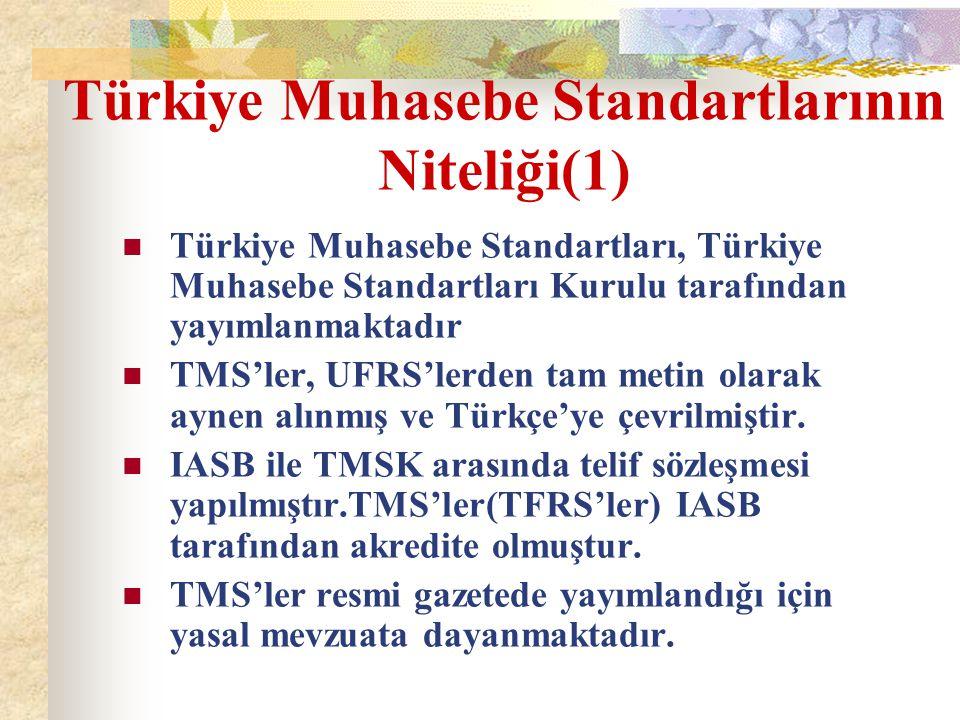 Yayımlanan Standartlar-2 Kavramsal Çerçeve 8 adet TFRS – 31 adet TMS (bir adedi yürürlükten kaldırıldı -30 nolu standart)30 adet yürürlükte 20 adet yorum Kobi standart taslağı