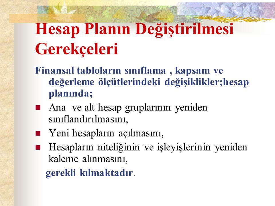 Hesap Planın Değiştirilmesi Gerekçeleri Finansal tabloların sınıflama, kapsam ve değerleme ölçütlerindeki değişiklikler;hesap planında; Ana ve alt hes