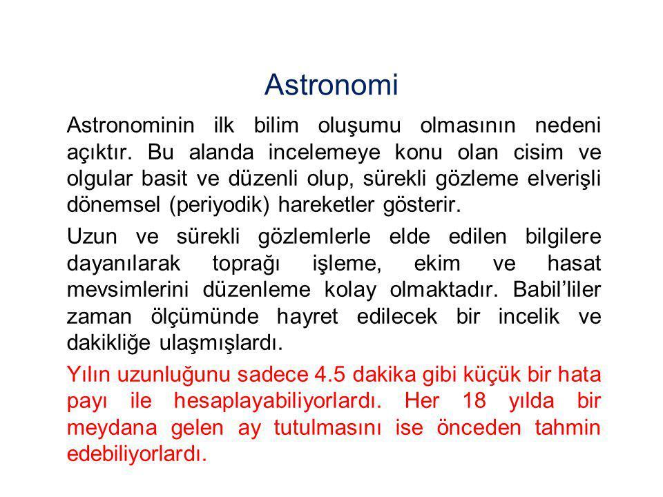Astronomi Astronominin ilk bilim oluşumu olmasının nedeni açıktır. Bu alanda incelemeye konu olan cisim ve olgular basit ve düzenli olup, sürekli gözl