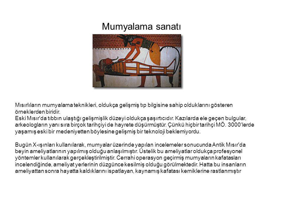 Mumyalama sanatı Mısırlıların mumyalama teknikleri, oldukça gelişmiş tıp bilgisine sahip olduklarını gösteren örneklerden biridir. Eski Mısır'da tıbbı