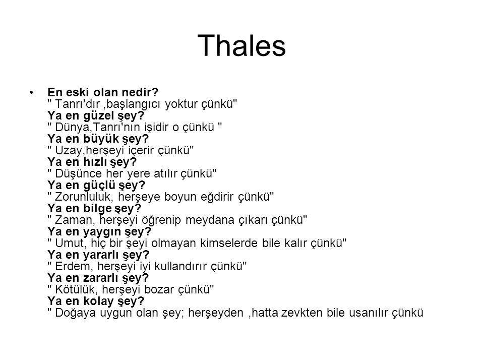 Thales En eski olan nedir?