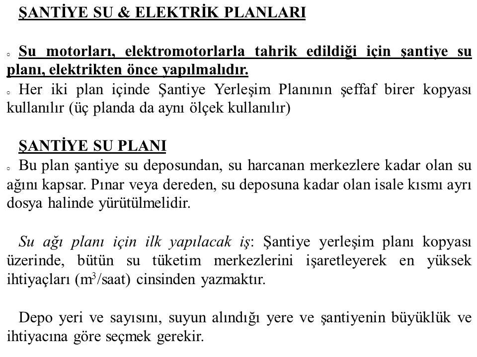 ŞANTİYE SU & ELEKTRİK PLANLARI o Su motorları, elektromotorlarla tahrik edildiği için şantiye su planı, elektrikten önce yapılmalıdır. o Her iki plan