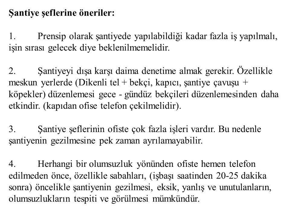 Şantiye şeflerine öneriler: 1.Prensip olarak şantiyede yapılabildiği kadar fazla iş yapılmalı, işin sırası gelecek diye beklenilmemelidir. 2.Şantiyeyi