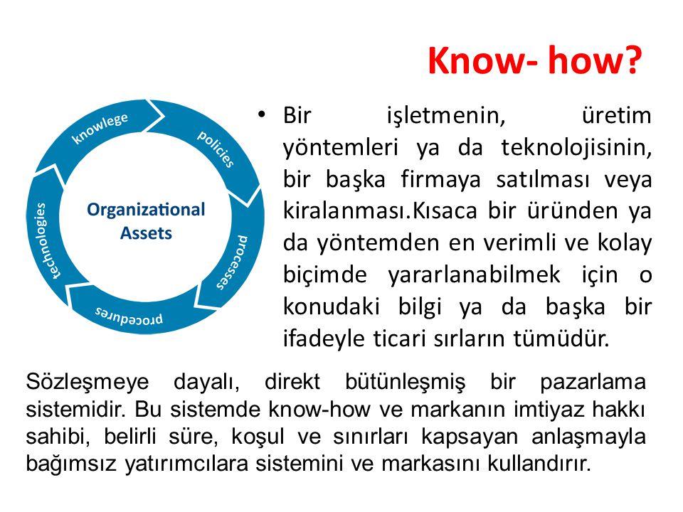 Know- how? Bir işletmenin, üretim yöntemleri ya da teknolojisinin, bir başka firmaya satılması veya kiralanması.Kısaca bir üründen ya da yöntemden en