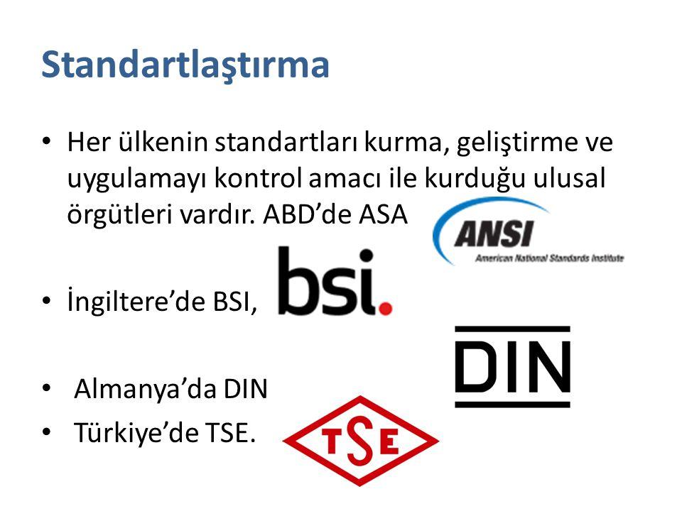 Standartlaştırma Her ülkenin standartları kurma, geliştirme ve uygulamayı kontrol amacı ile kurduğu ulusal örgütleri vardır. ABD'de ASA İngiltere'de B