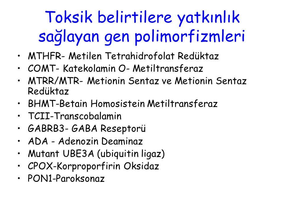 Toksik belirtilere yatkınlık sağlayan gen polimorfizmleri MTHFR- Metilen Tetrahidrofolat Redüktaz COMT- Katekolamin O- Metiltransferaz MTRR/MTR- Metio