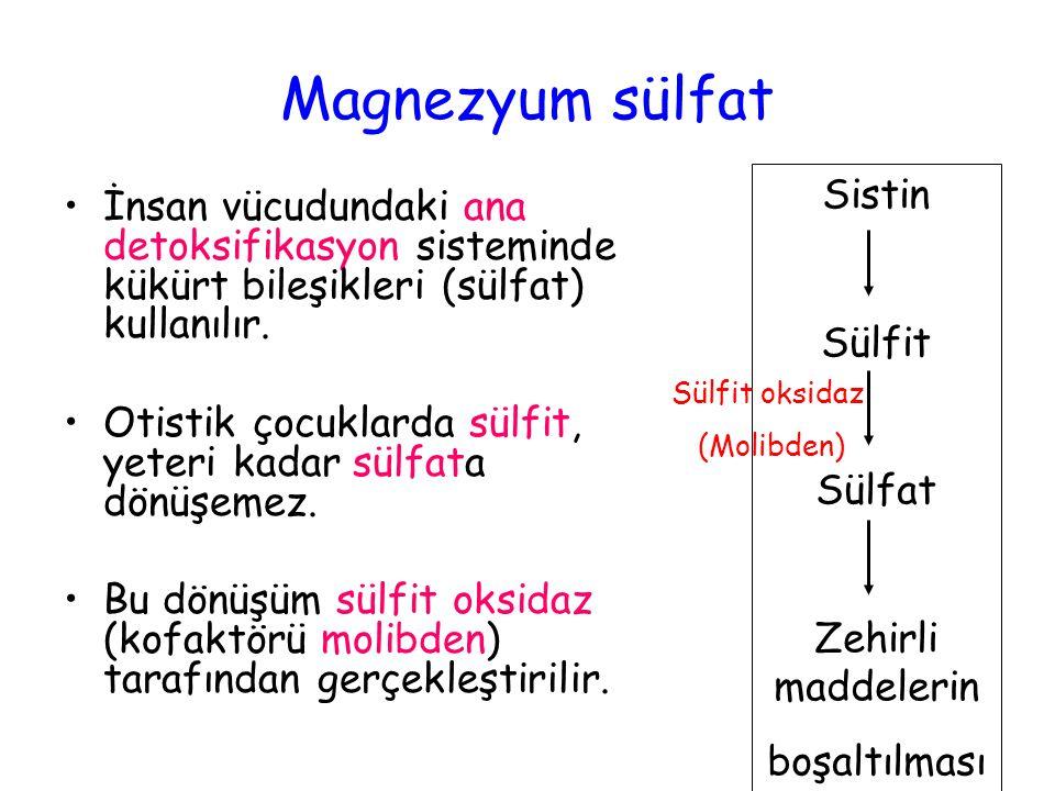 Magnezyum sülfat İnsan vücudundaki ana detoksifikasyon sisteminde kükürt bileşikleri (sülfat) kullanılır. Otistik çocuklarda sülfit, yeteri kadar sülf