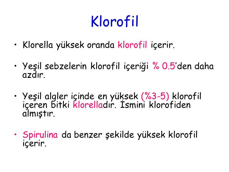 Klorofil Klorella yüksek oranda klorofil içerir. Yeşil sebzelerin klorofil içeriği % 0.5'den daha azdır. Yeşil algler içinde en yüksek (%3-5) klorofil