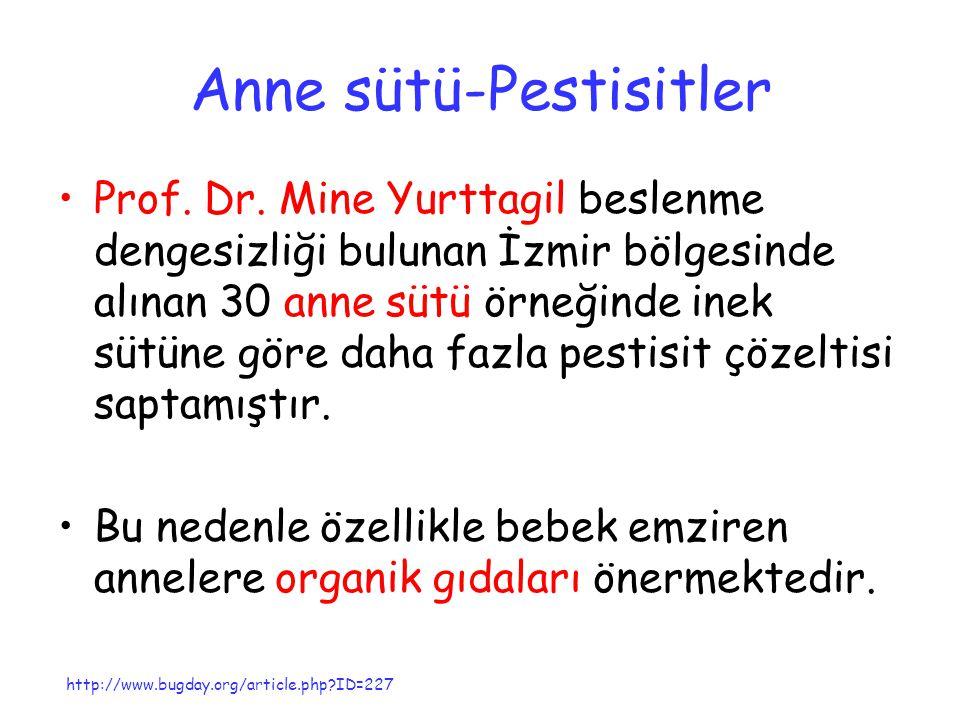 Anne sütü-Pestisitler Prof. Dr. Mine Yurttagil beslenme dengesizliği bulunan İzmir bölgesinde alınan 30 anne sütü örneğinde inek sütüne göre daha fazl