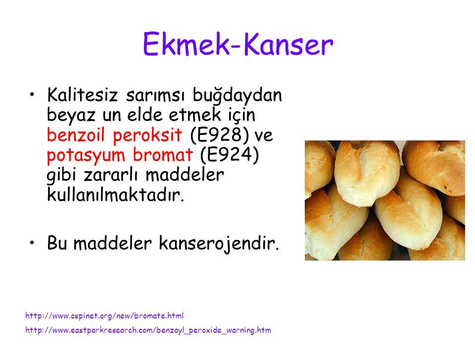 Ekmek-Kanser Kalitesiz sarımsı buğdaydan beyaz un elde etmek için benzoil peroksit (E928) ve potasyum bromat (E924) gibi zararlı maddeler kullanılmakt