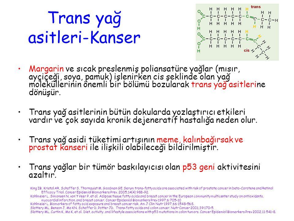 Trans yağ asitleri-Kanser Margarin ve sıcak preslenmiş poliansatüre yağlar (mısır, ayçiçeği, soya, pamuk) işlenirken cis şeklinde olan yağ molekülleri