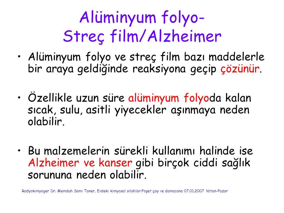 Alüminyum folyo- Streç film/Alzheimer Alüminyum folyo ve streç film bazı maddelerle bir araya geldiğinde reaksiyona geçip çözünür. Özellikle uzun süre