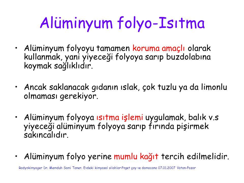 Alüminyum folyo-Isıtma Alüminyum folyoyu tamamen koruma amaçlı olarak kullanmak, yani yiyeceği folyoya sarıp buzdolabına koymak sağlıklıdır. Ancak sak