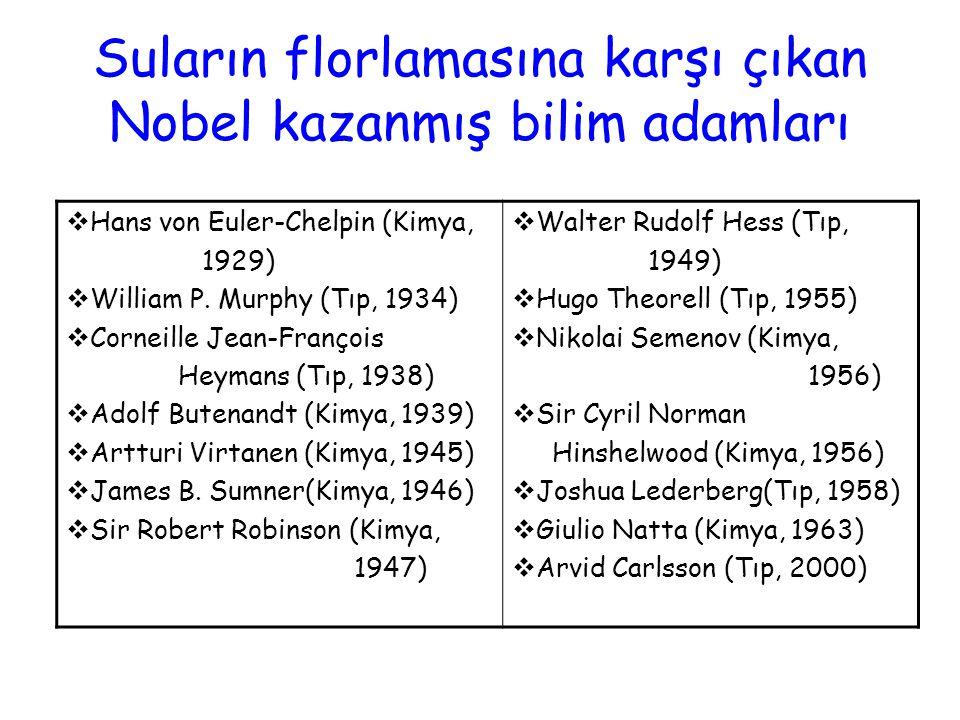 Suların florlamasına karşı çıkan Nobel kazanmış bilim adamları  Hans von Euler-Chelpin (Kimya, 1929)  William P. Murphy (Tıp, 1934)  Corneille Jean