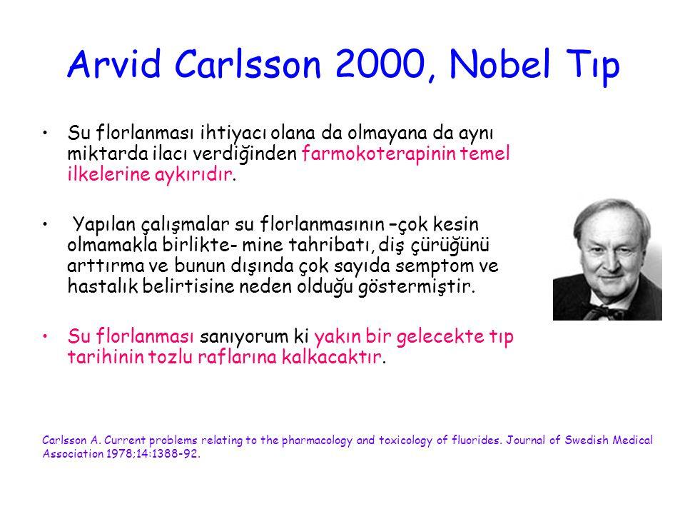 Arvid Carlsson 2000, Nobel Tıp Su florlanması ihtiyacı olana da olmayana da aynı miktarda ilacı verdiğinden farmokoterapinin temel ilkelerine aykırıdı