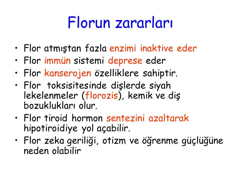Florun zararları Flor atmıştan fazla enzimi inaktive eder Flor immün sistemi deprese eder Flor kanserojen özelliklere sahiptir. Flor toksisitesinde di