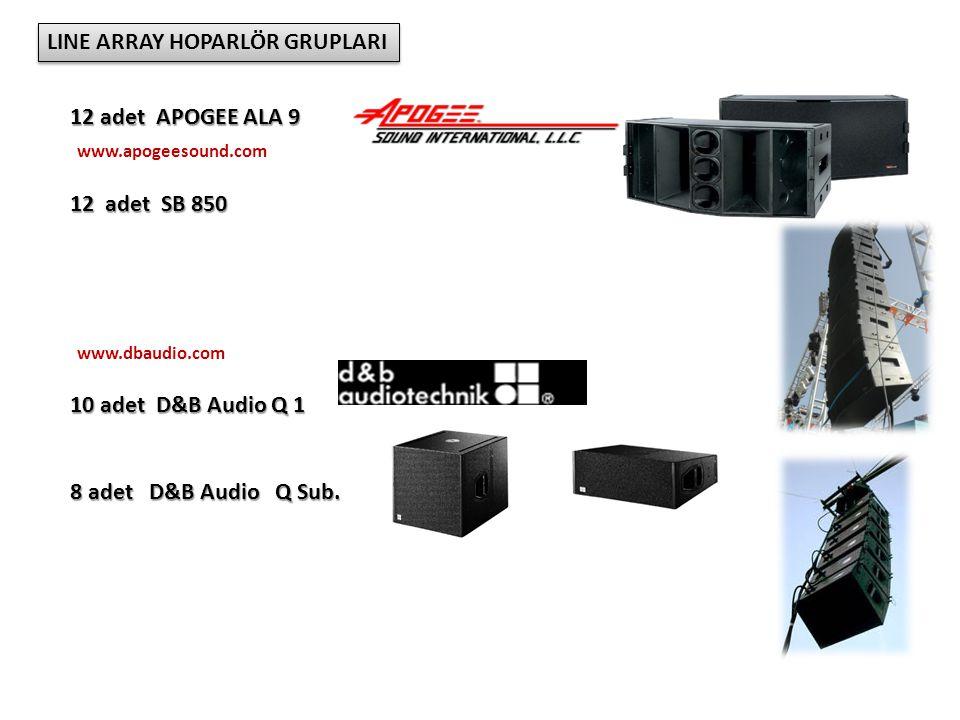 LINE ARRAY HOPARLÖR GRUPLARI 12 adet APOGEE ALA 9 12 adet SB 850 10 adet D&B Audio Q 1 8 adet D&B Audio Q Sub.