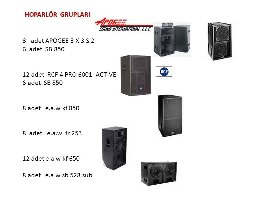 HOPARLÖR GRUPLARI 8 adet APOGEE 3 X 3 S 2 6 adet SB 850 12 adet RCF 4 PRO 6001 ACTİVE 6 adet SB 850 8 adet e.a.w kf 850 8 adet e.a.w fr 253 12 adet e a w kf 650 8 adet e.a w sb 528 sub
